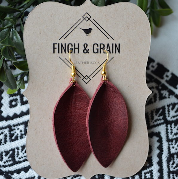 Burgundy Leather Earring