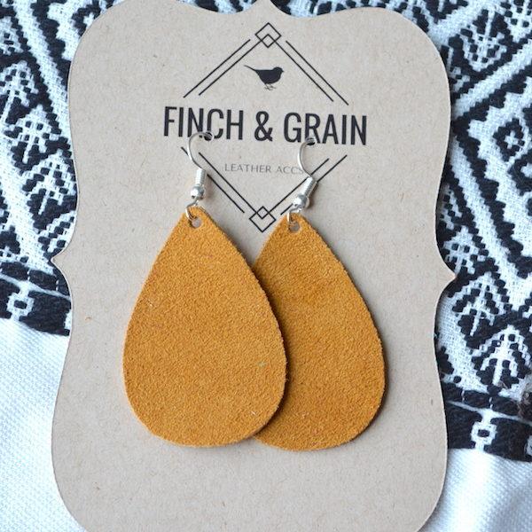 Mustard Teardrop Leather Earrings