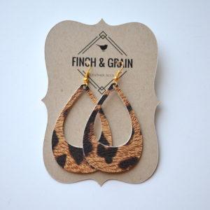 Leopard Cutout Leather Earrings