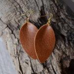 Cognac Leather Earrings