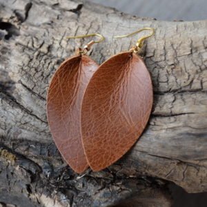 Cognac Leather Earrings - Petal