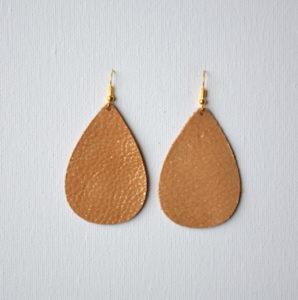 Bronze Teardrop Leather Earrings