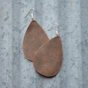 Brown Teardrop Leather Earring