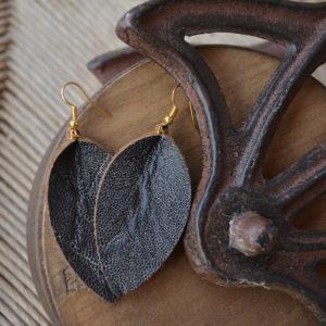 Charcoal Leather Earrings