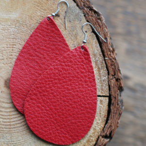 Red Leather Earring