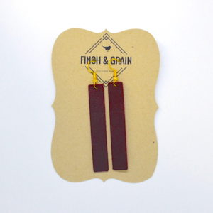 Burgundy Bar Leather Earring