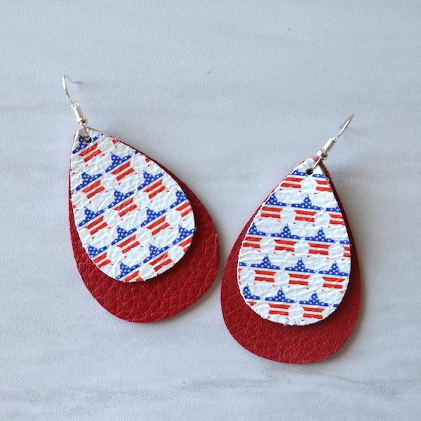 Patriotic Leather Earrings