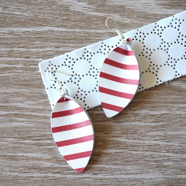 Red & White Stripe Petal Leather Earrings