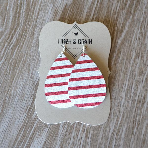 Red & White Stripe Teardrop Leather Earrings
