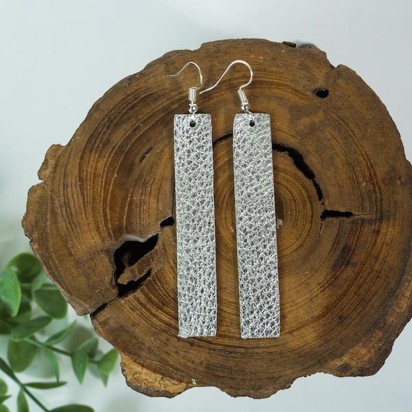 Silver Metallic Leather Earrings