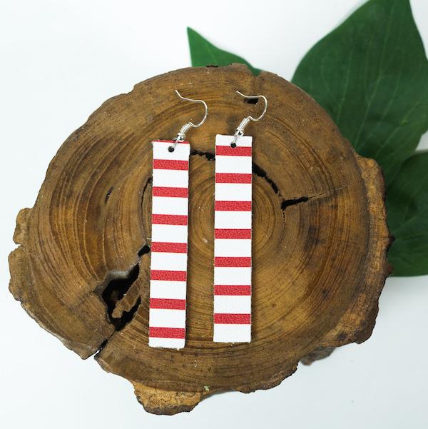stripe leather earrings