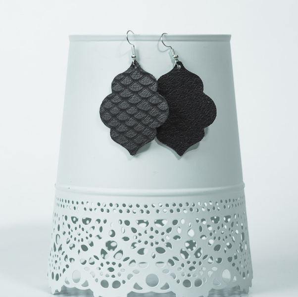 black moroccan leather earrings