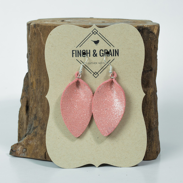 pink flamingo petal leather earrings