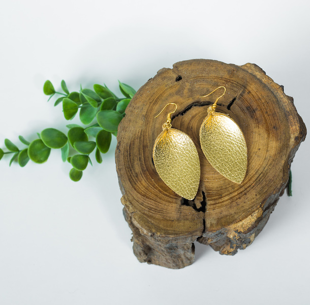 metallic gold leather earrings