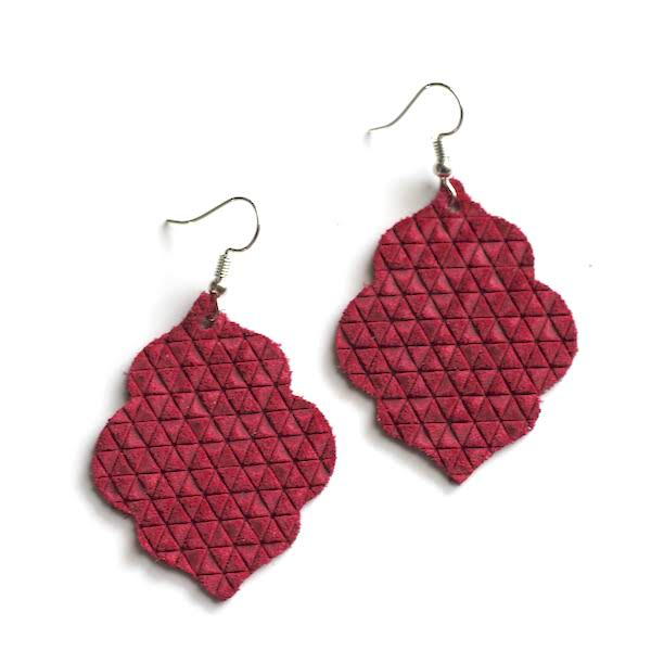 Crimson Red Leather Earrings