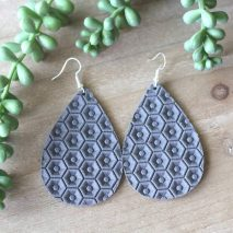 dark grey leather earrings